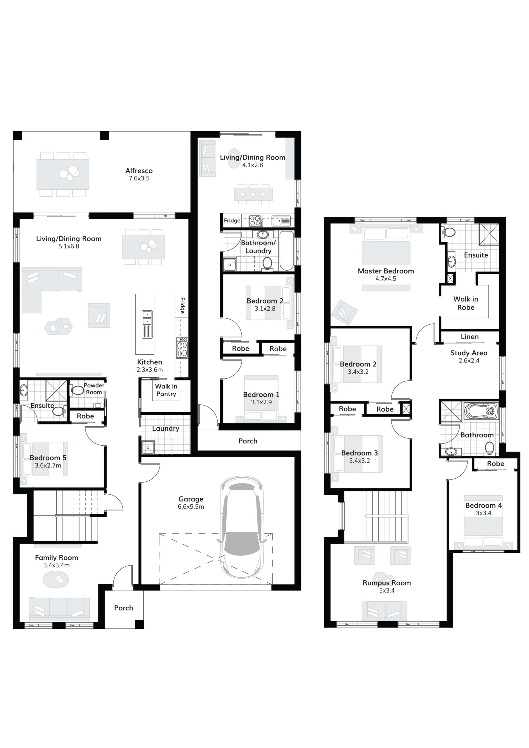 Dual Occupancy scaled floor plan